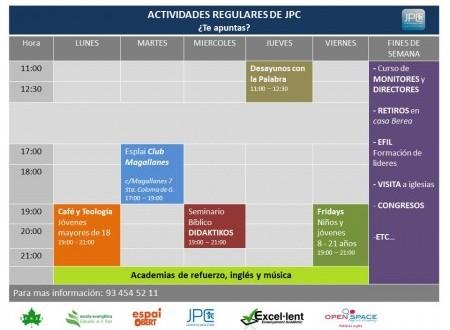HORARIO DE ACTIVIDADES DE JPC